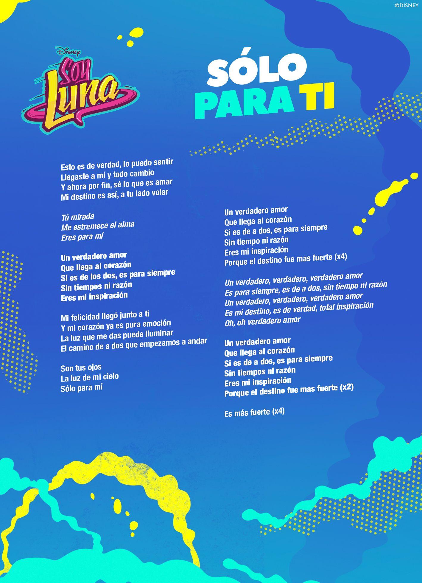 28 Ideas De Letras De Las Canciones De Soy Luna Son Luna Soy Luna Canciones Letra Letra Soy Luna