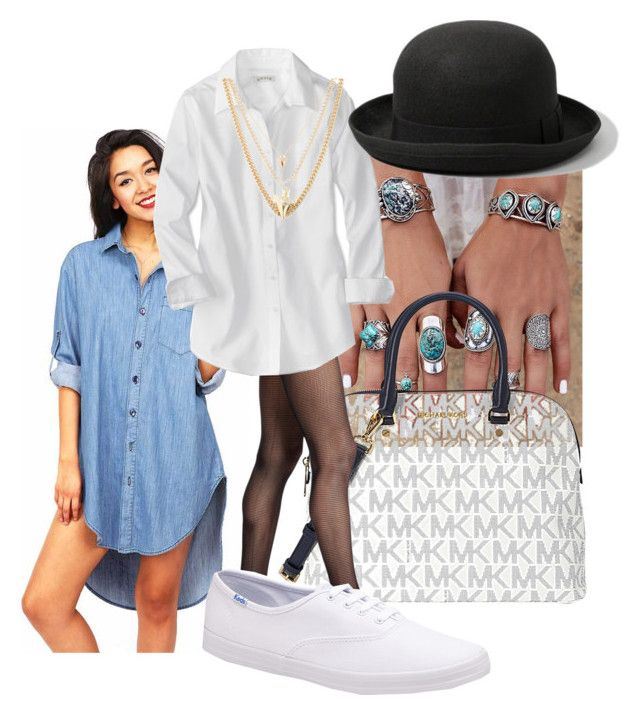 """""""Experimenting with clothes<3 (layering long button-up shirts)"""" by p0llyinurpocket ❤ liked on Polyvore featuring Michael Kors, Wolford, Keds, Ettika and Abercrombie & Fitch"""