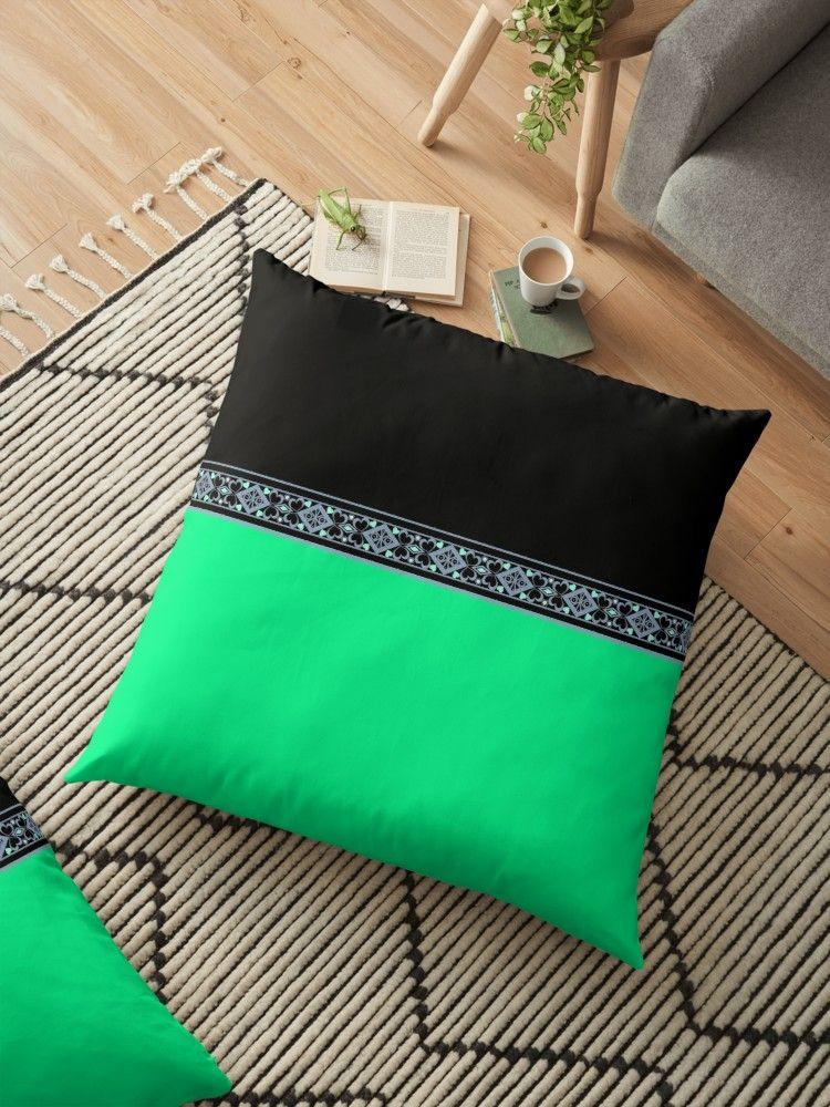 Neon Green Green And Black Floor Pillow