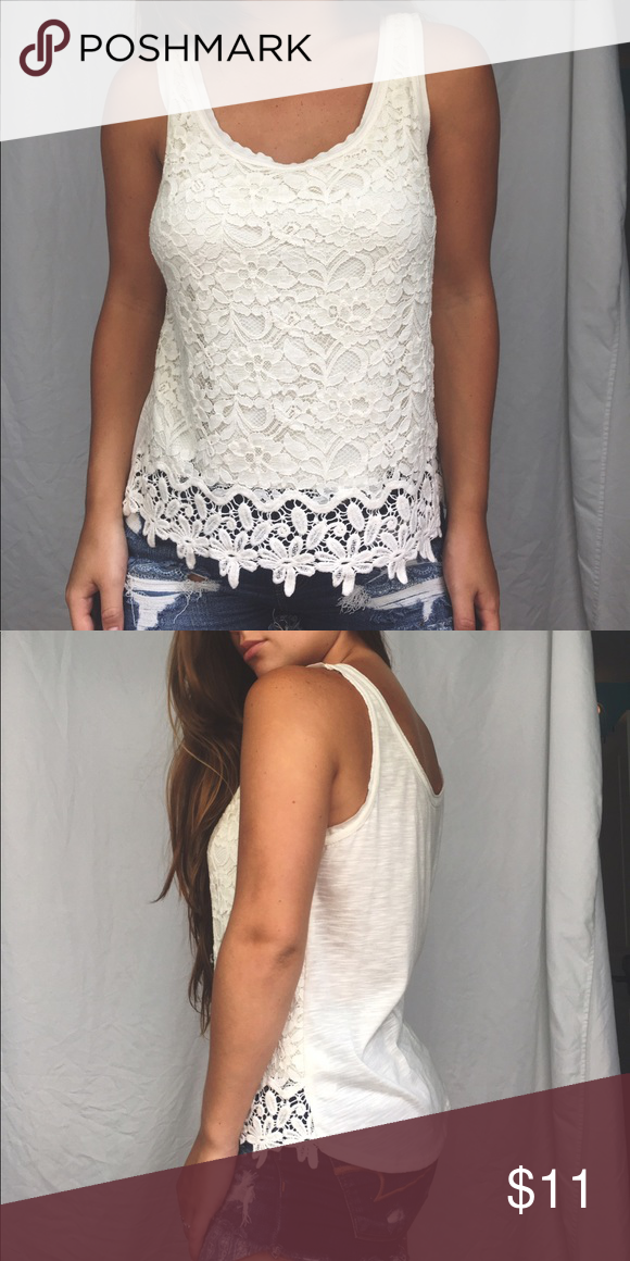 Cream Lace Top Cream lacey top, front half is the floral pattern, back half is just fabric. Super cute to tuck in to shorts with and some cute sandals for summer! Mossimo Supply Co. Tops Tank Tops