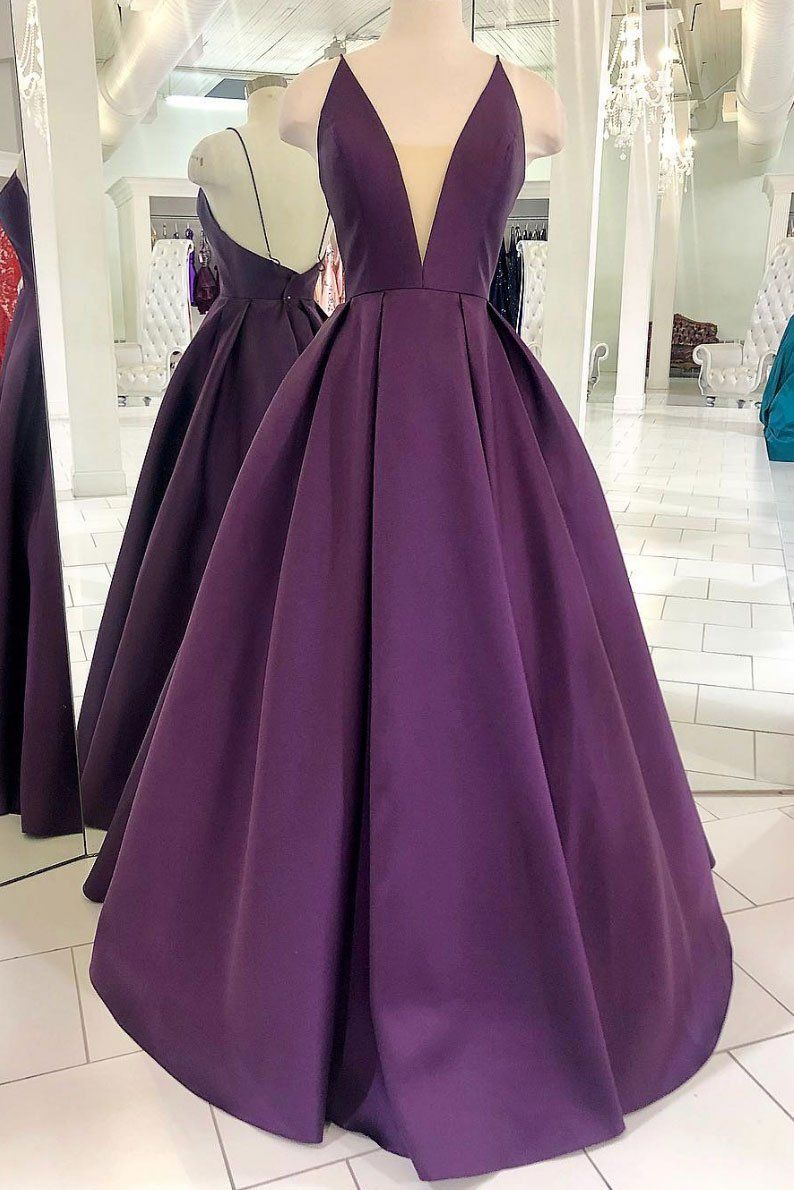 Purple Prom Dress Deep V Neck Prom Dress Long Prom Dress Fashion Prom Dress Open Back Evening Dres Simple Prom Dress Long Purple Evening Dress Satin Prom Dress [ 1190 x 794 Pixel ]