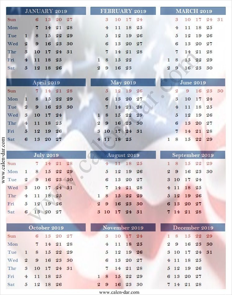 Usa 2019 Calendar Usa Calendar 2019 Pinterest Calendar, 2019