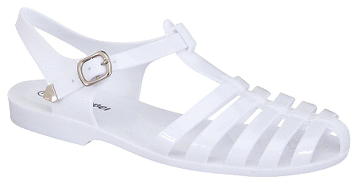 ebed5cf05 Forever Jedi New Women Summer Round Toe T-Strap Retro Beach Jelly Rainbow  Clear Rain Flat Sandal (6