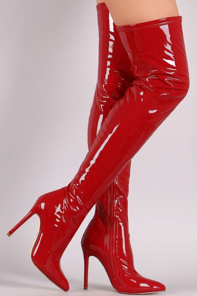 3674703737f Red latex thigh high boots | Gorgeous shoes in 2019 | Stiletto boots ...