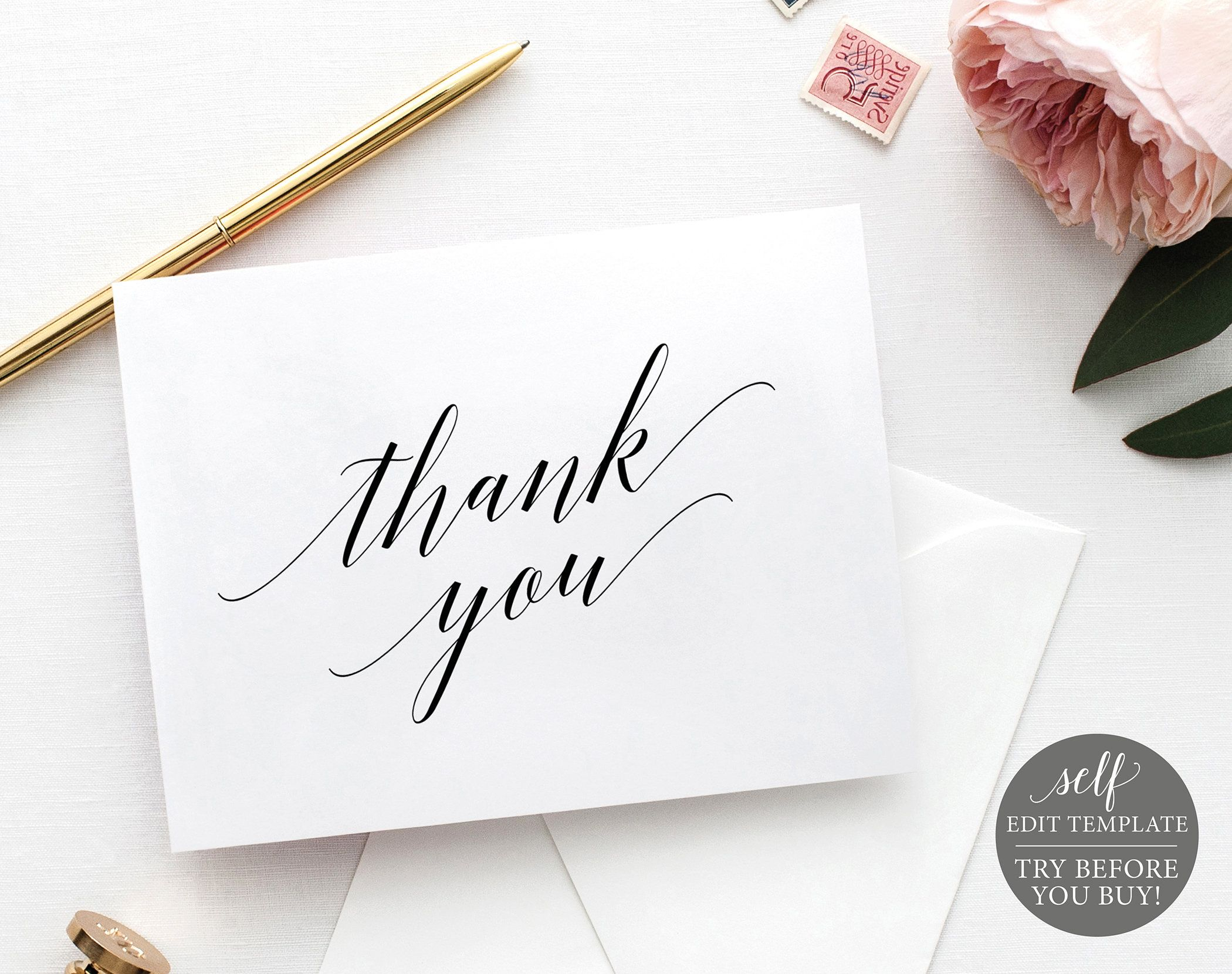 thank you card template folded calligraphy free demo