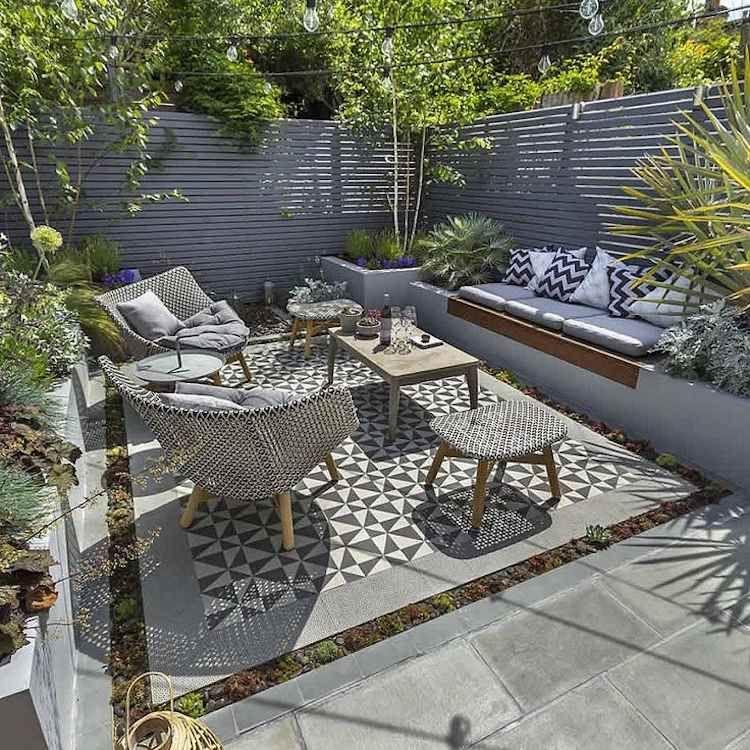 DIY panneau bois extérieur gris salon jardin moderne tapis extérieur ...