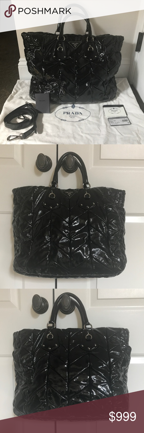 2f2d20e1d0 PRADA - style BN1542 Vernice Tote Very Good Condition- Quilted Chevron  pattern in Black Patent