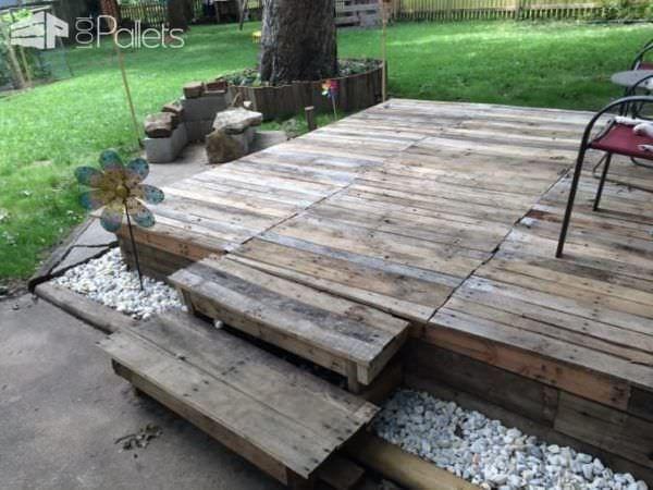 How I Made A Pallet Deck Pallet Pallet Patio Decks Pallet Deck Diy