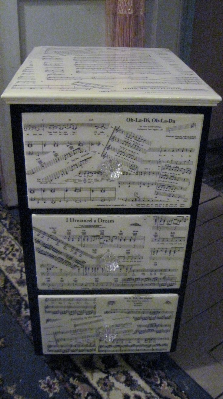 sheet music craft project ideas | sheet music and an old night stand #musicdecor