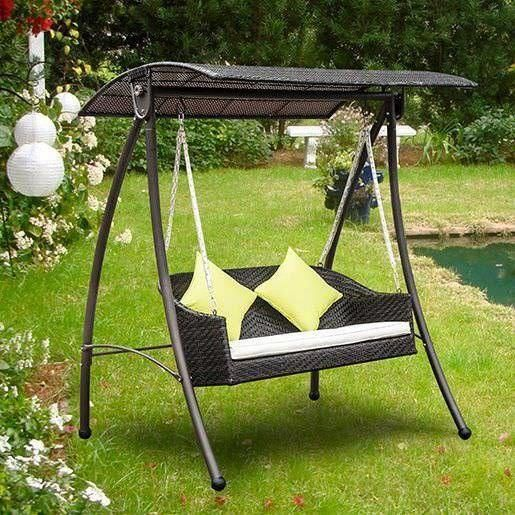 3 Seater Rattan Swing Chair Black Canopy Cushion Outdoor Patio