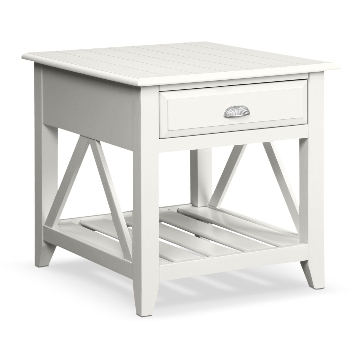 Nested End Tables And Square White Polished Oak Wood End ...