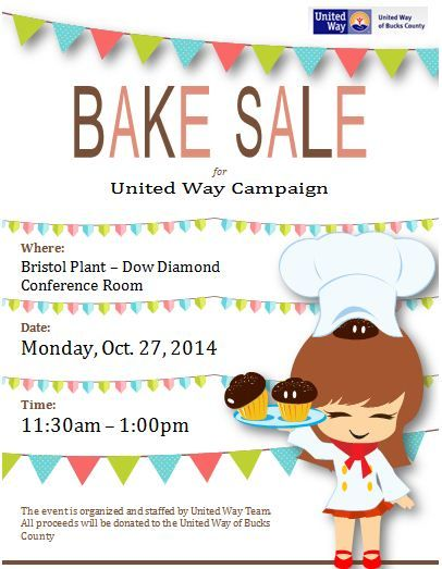Fundraising Bake Sale Flyer for United Way Cards, Invites, Etc