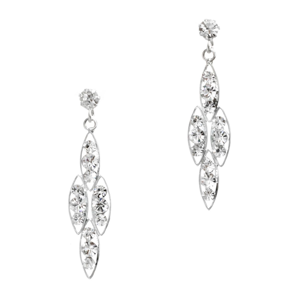 These silver and chandelier earrings are luxurious elegance and refinement. Crystal accented posts support four marquis shapes filled with glimmering clear crystals.
