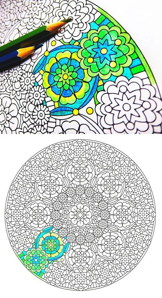 Mandala Coloring Page Cathedral of Green coloring page for art