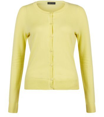 Yellow Basic Crew Neck Cardigan