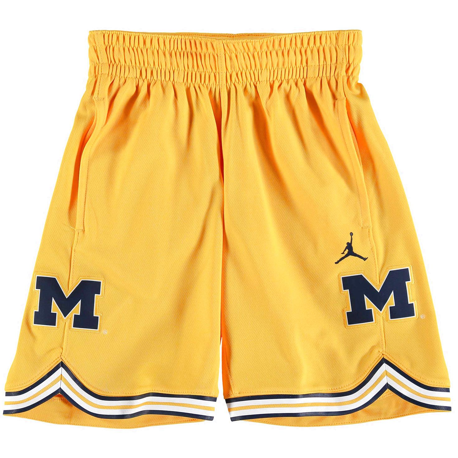 21be87a8f60 Michigan Wolverines Brand Jordan Youth Holiday Replica Basketball Shorts -  Maize -  49.99