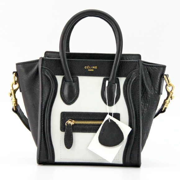 celine black and ivory leather nano mini luggage bag w strap ...