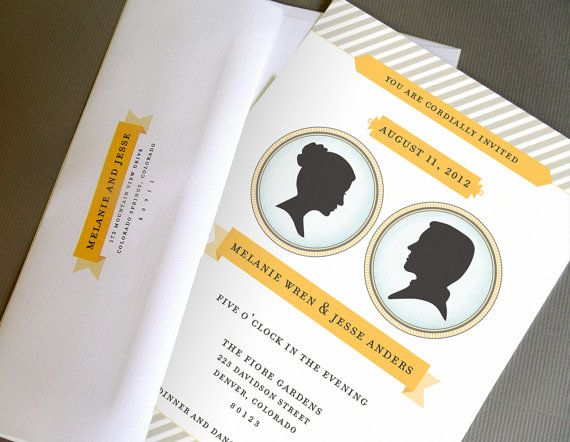 Modern Silhouette Wedding Invitation Suite By Leveret Paperie