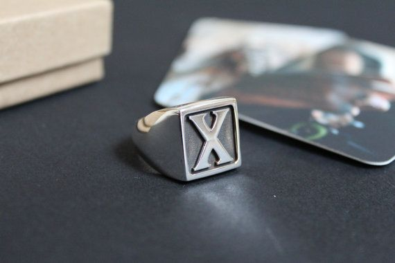 X Ring Straight Edge Ring Mens Signet Ring Initial Ring Monogram Signet Ring Mens X Ring Straight Rings For Men Sterling Silver Mens Straight Edges