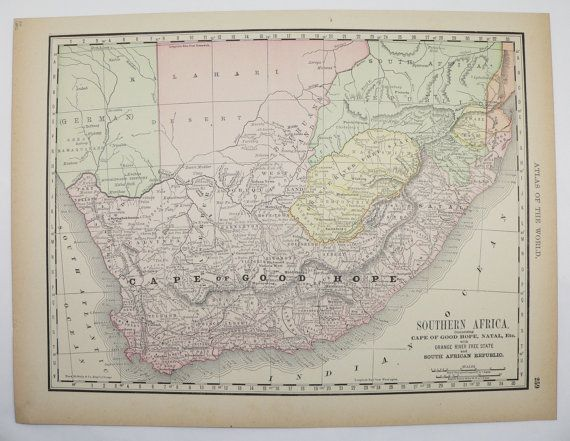 Antique South Africa Map Vintage Map of South Africa 1892 Cape of ...