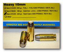 Heavy 10mm Ammo - 220 gr  Hard Cast - FN (1200 fps/ME 703 ft