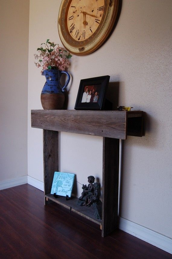 Wood console table wooden entry way or wall table 36 x 12 for Entry wall table