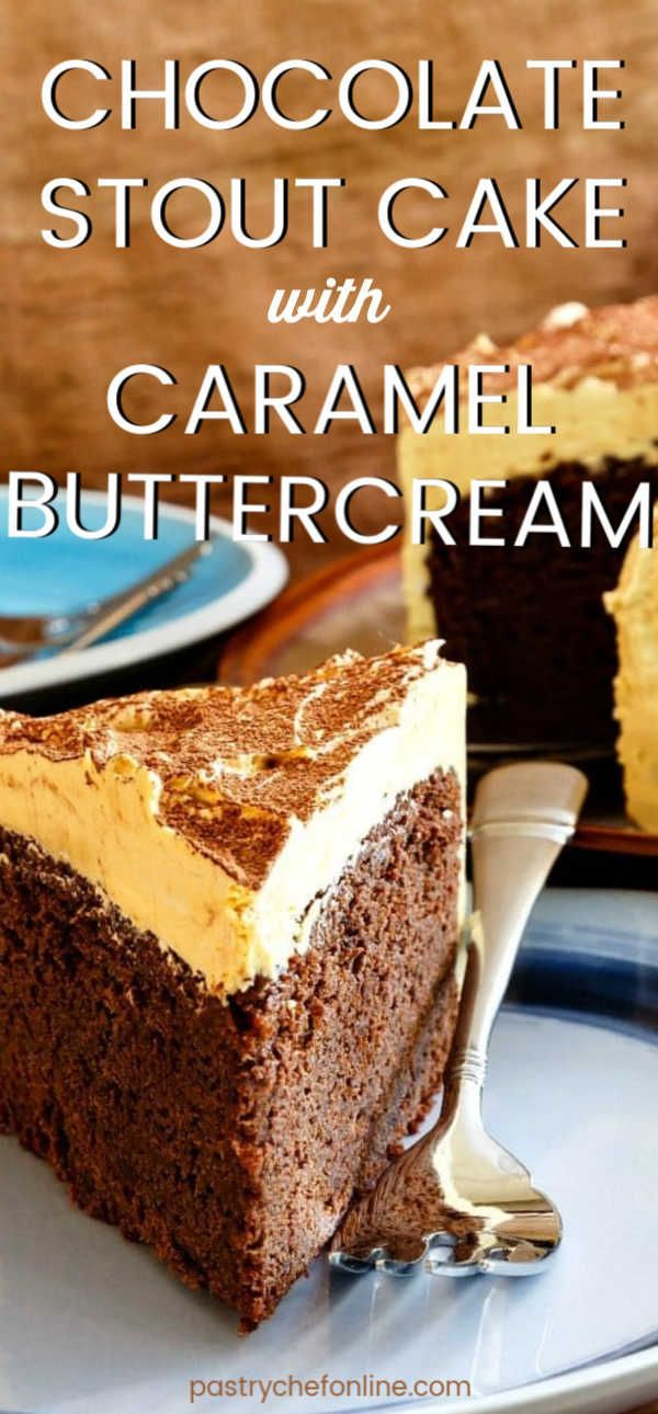 Caramel buttercream is a natural pairing with chocolate stout cake because of the roasted caramel flavors in chocolate stout itself. Try this easy homemade chocolate cake recipe--you don't even need a mixer to make it! The frosting is not too sweet but is the absolute perfect match for this moist chocolate cake. #stoutcake #chocolatestoutcake #chocolatecake #easychocolatecake #moistchocolatecake #pastrychefonline #cakerecipe #easychocolatecake