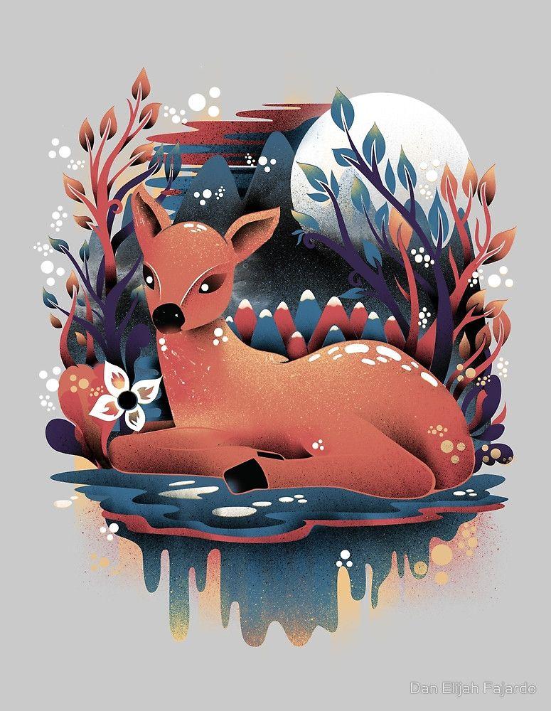 The Red Deer by Dan Elijah Fajardo Art, Cute art, Nature