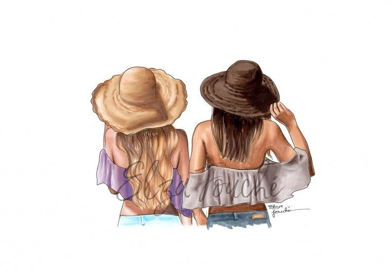 Summer Hats / Best friends - best friend print - sister print - fashion art print - bff  - best friend gift  - fashion illustration