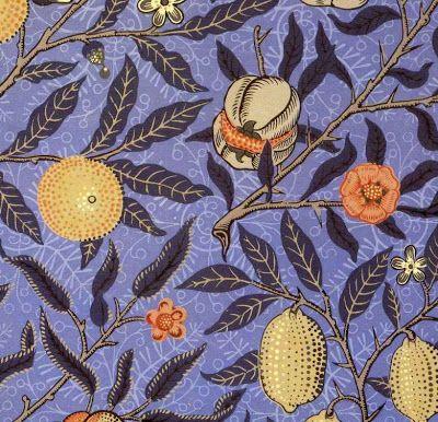 Pre Raphaelite Art William Morris Blue Fruit Wallpaper