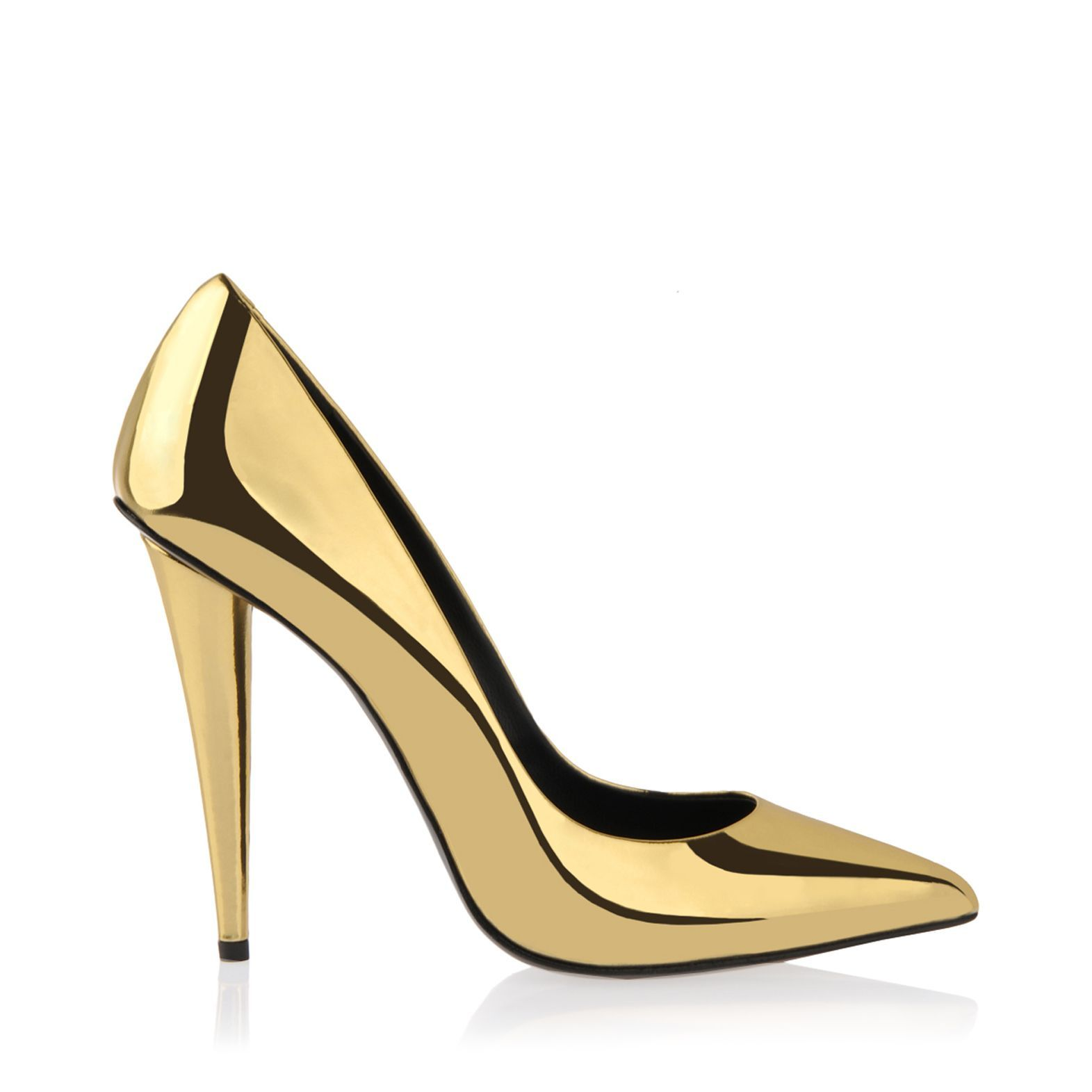 Giuseppe Zanotti Ester Patent Leather Pointed Toe 11cm Gold Pumps ...