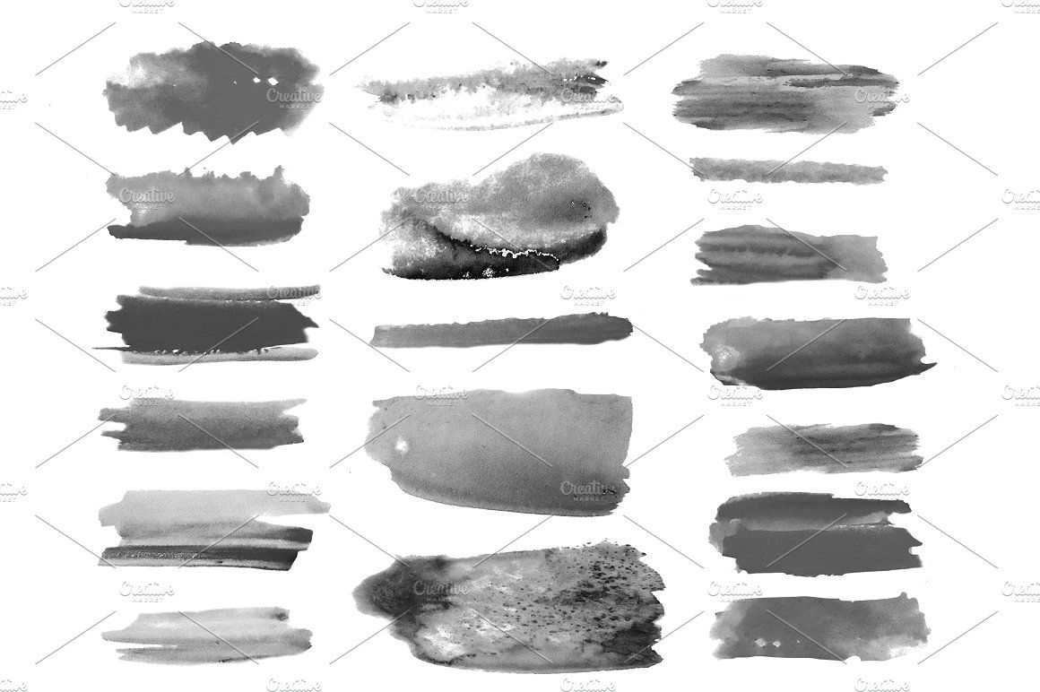 Watercolor Brushes Set Paper Digitised Painted Illustration