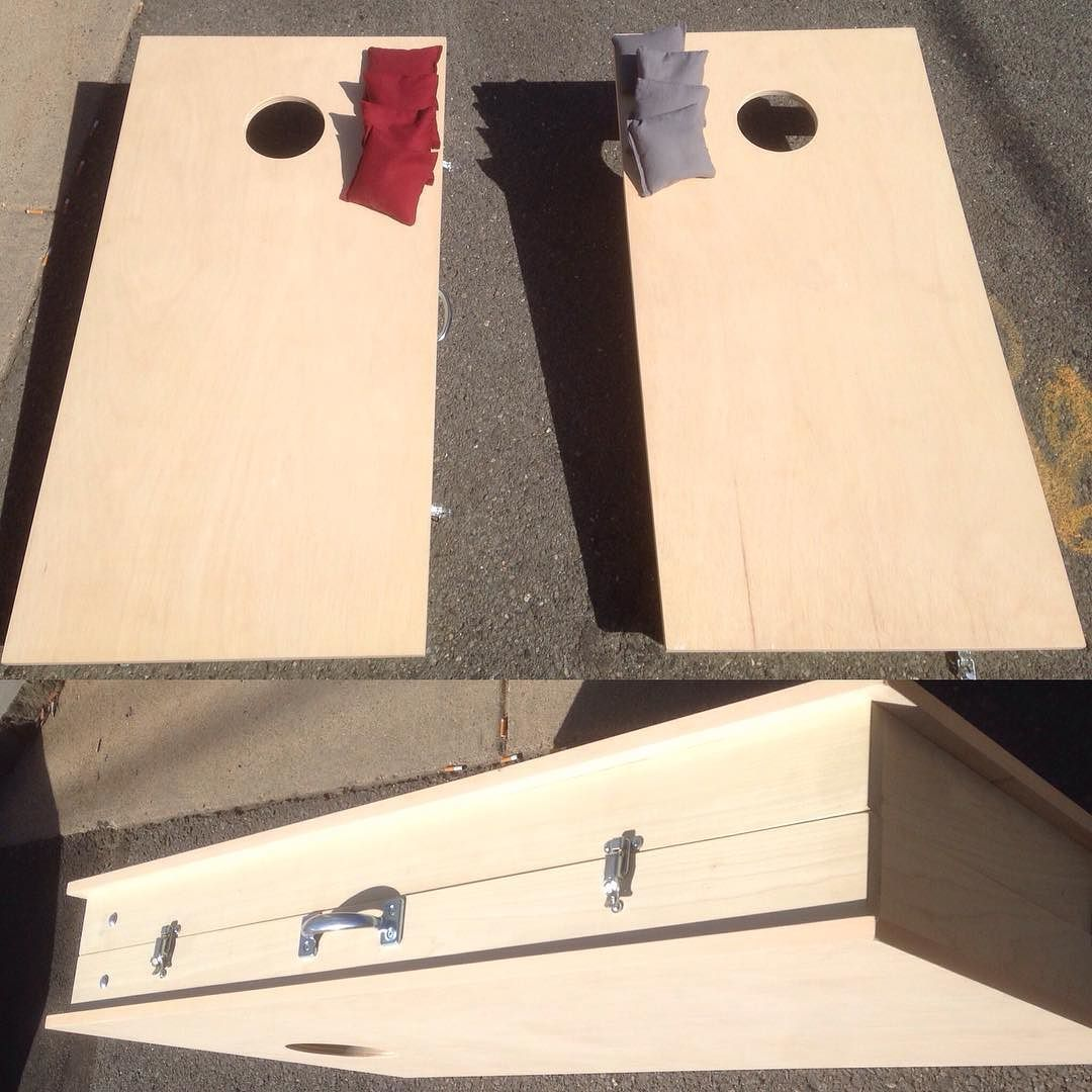 Cornhole Set With Folding Legs And On Board Bag Storage That Snaps Together  Into A Suitcase