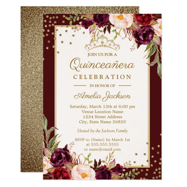 Quinceanera Burgundy Gold floral Sparkle Invite Qu