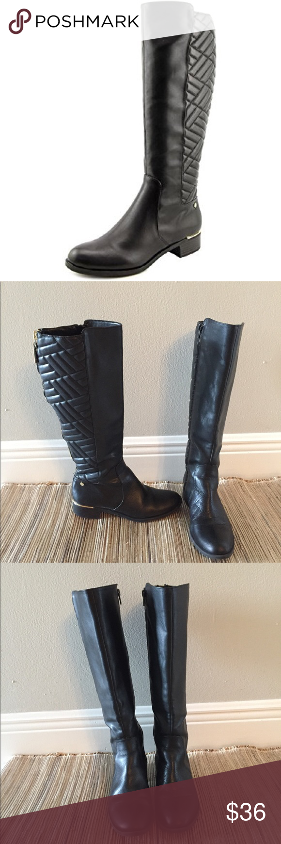 e5f509d72bf Calvin Klein Garcella Black Knee High Boots 6.5 In great used condition.  The Calvin Klein Garcella Wide Calf Boots feature a Leather upper with a  Round Toe.