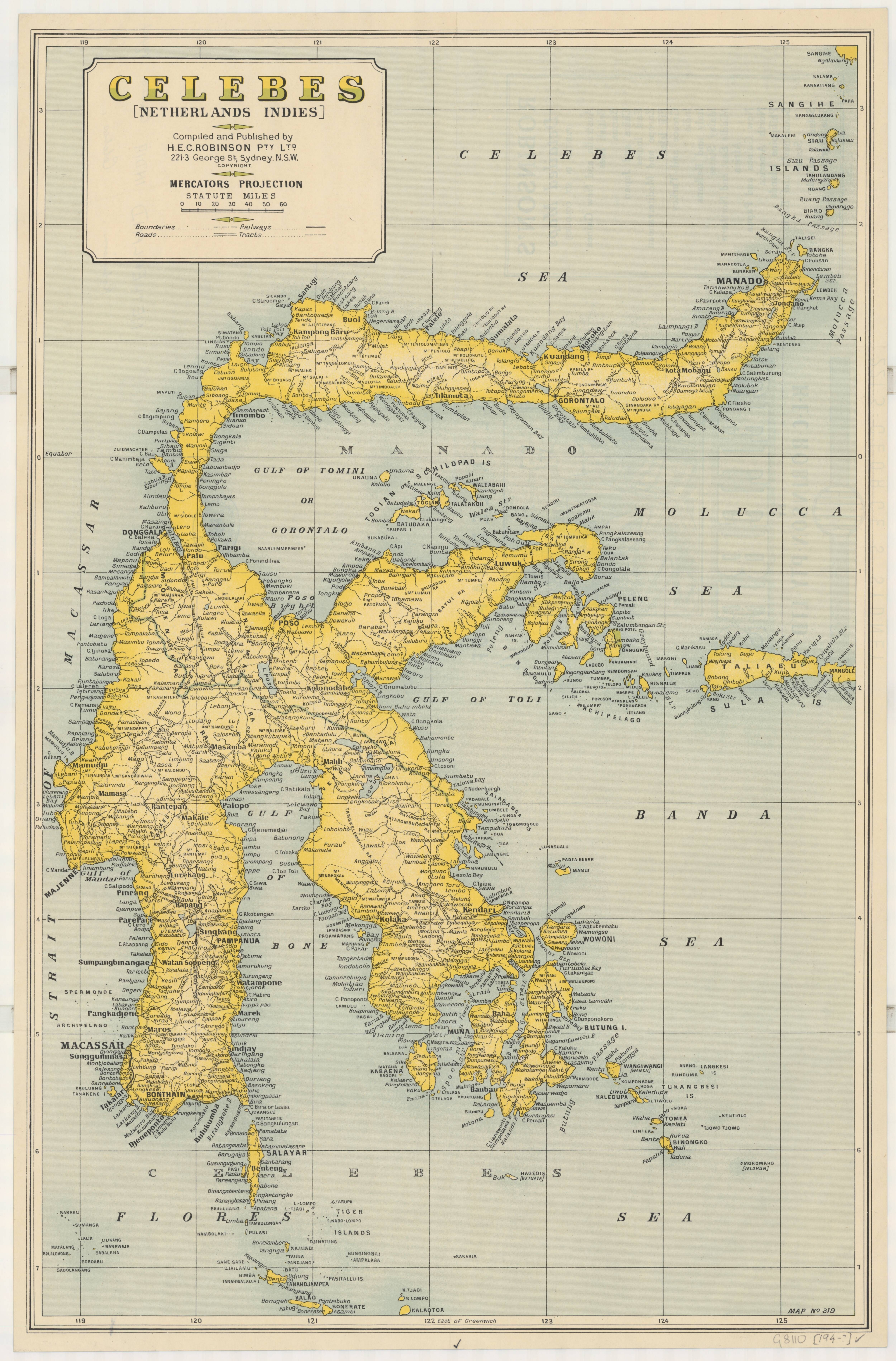 1940s map of sulawesi celebes indonesia historical world atlas 1940s map of sulawesi celebes indonesia gumiabroncs Gallery