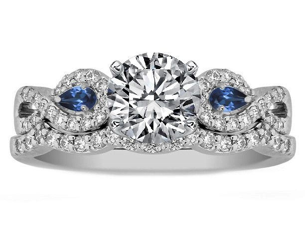 Infinity Engagement Ring U0026 Matching Wedding Ring Blue Sapphire Pear  Accents...this Is