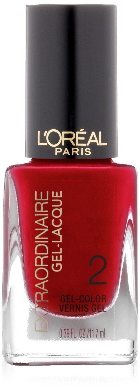 L'Oreal Paris Extraordinaire Gel-Lacque 1-2-3 Nail Color, Lacque-Red, 0.39 Fluid
