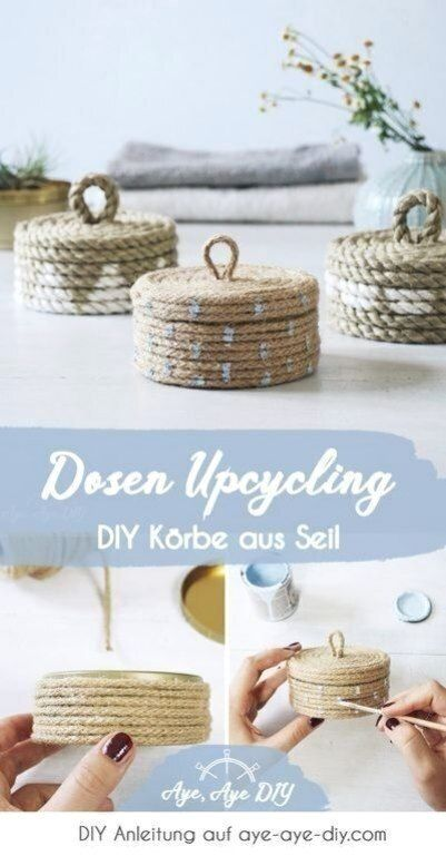 Upcycling & zerowaste diy idea make yourself out of old cans with lids and rope ...