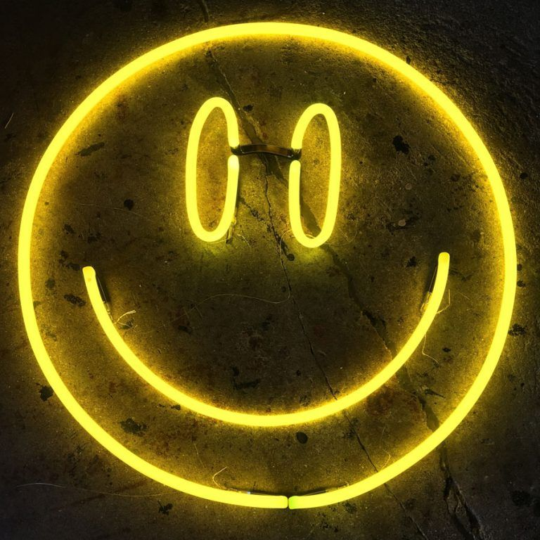 Neon Yellow Smiley By Andy Doig Yellow Aesthetic Yellow Wallpaper Neon Aesthetic