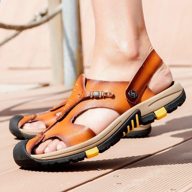 2018 New Style Fashion Prawdziwe Skorzane Letnie Sandaly Nowe Skorzane Obuwie Plazowe Duze Rozmiary Skorzane Sandaly Meskie Sandaly R Shoes Birkenstock Sandals