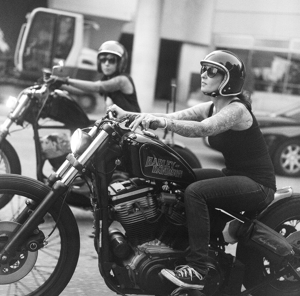 Sportster bobbers, lady riders, open-face helmets, drag bars, sissy bar, vintage…