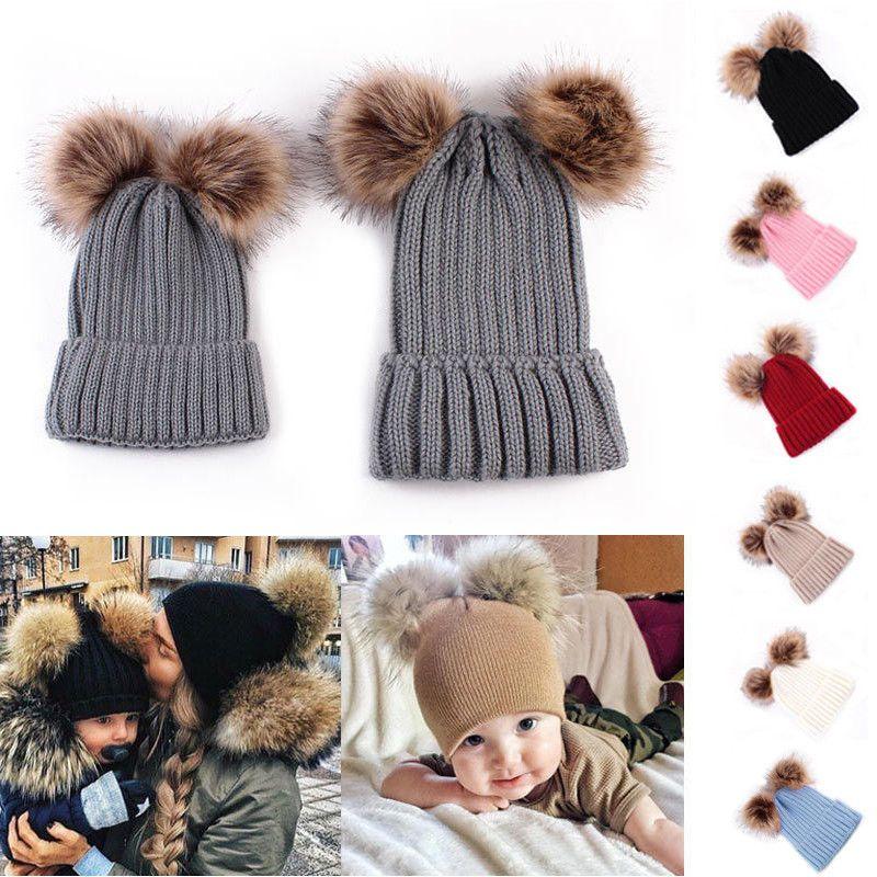 1106a5233 Mom&Newborn Baby Boy Girls Winter Warm Double Fur Pom Bobble Knit ...