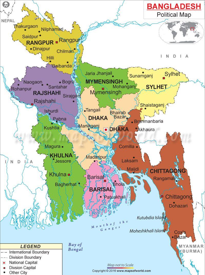 Political Map of Bangladesh | Estados, territorios y otras