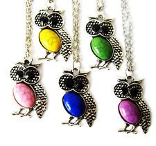 Lots 5pcs mixed Retro crystal rhinestone owl bird pendants necklace Gfit M33