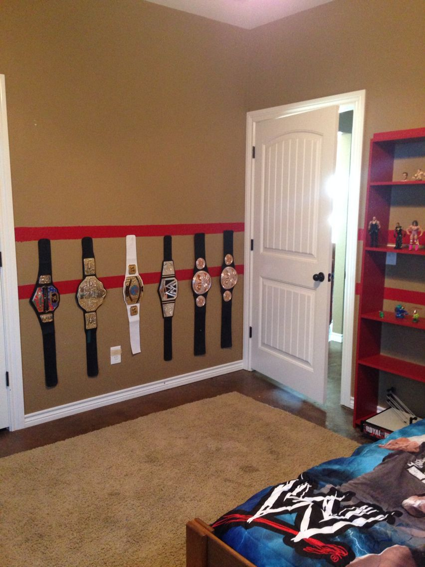 Hank\'s WWE Room makeover. Adhered Velcro to the wall for the belts ...