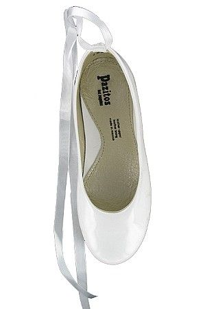 aae4ff1ba53d Pazitos White Ballet Flats With Ribbon Ties