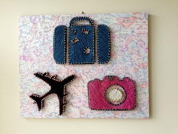 Travel Lover String Art Wall Decor by FILATURE on Etsy