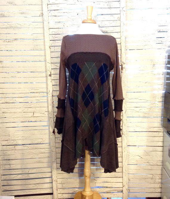 Long Pullover Tunika L/XL, Argyle Strickjacke, Altstoff-Kleidung ...