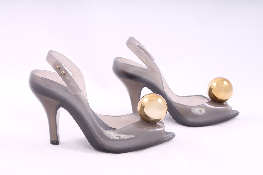 Vivienne Westwood Gray Open Toe Jelly Gold Toe Heels Size 6 – London Couture #designerjelly